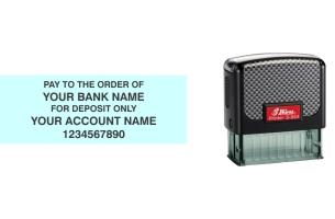 Shiny 854 self-inking bank endorsement stamp made daily online! Free Same Day Shipping. No sales tax - ever!