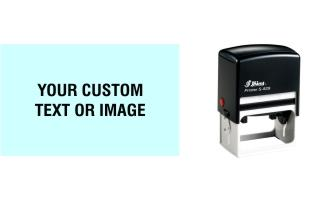 Shiny self-inking stamps made daily online. Select from 8 bright colors for the built-in removable ink pad that will last for several thousand impressions. 100% Guaranteed. Excellent customer service. Same day shipping. No sales tax - ever!