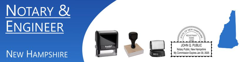 New Hamphsire Notary and Professional Stamps made and shipped daily. Seals are pre-formatted to meet state requirements. Just enter your details. Free Shipping. No Sales Tax - Ever!