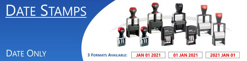 Changeable Date stamps shipped daily online. Free same day shipping. Excellent customer service. No sales tax - ever.