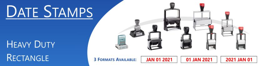 Ergonomic Custom Date Stamps made and shipped daily. Free same day shipping. No sales tax - ever.
