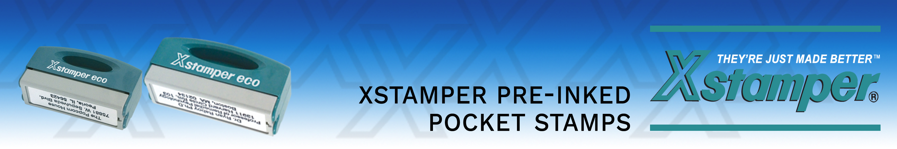 Xstamper Pocket Stamps customized for you.  Made and shipped daily. No sales tax ever.