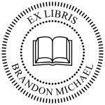 """Order Now! Handheld Or Desktop Embosser with a 1-5/8"""" round 'Ex Libris' design. Personalize it by adding your name. Free Shipping. No Sales Tax - Ever."""