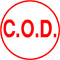 Order Now! X-Stamper round stock stamp with 5/8 inch impression of 'C.O.D.'. Available in 11 colors. Free Shipping! No Sales Tax - Ever!