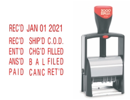Order Now! 2000 Plus 2024 Date Stamp with 12 Abbreviated Phrases. Metal reinforced frame, self-inking stamp. Available in 8 ink colors. Free Shipping! No Sales Tax - Ever!