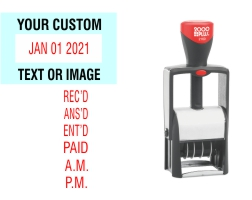 The 2000 Plus Classic Line 2160 Date Stamp with custom text makes sorting, organizing, and labeling your office documents easier. No sales tax ever.