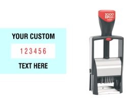 Order Now! 000 Plus Classic Line 6 Band Number Stamp with custom text makes the repetitive task of numbering things quick and easy. Free Shipping. No Sales Tax - Ever!