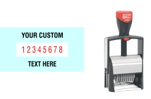 Order Now! 2000 Plus Classic Line 8 Band Number Stamp with custom text makes the repetitive task of numbering things quick and easy. Free Shipping. No Sales Tax - Ever!
