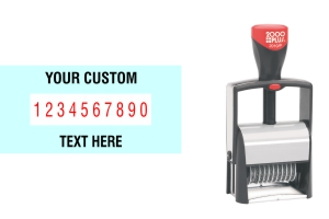 Order Now! 2000 Plus Classic Line 10 Band Number Stamp with custom text makes the repetitive task of numbering things quick and easy. Free Shipping. No Sales Tax - Ever!