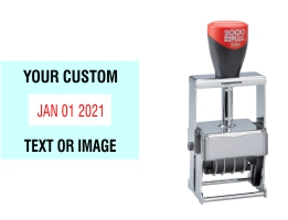 Order Now! The 2000 Plus Expert Line 3360 Stamp with custom text makes dating and sorting your office documents quick and easy. Free Shipping. No Sales Tax - Ever!