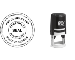 Order Now! 2000+ R40 Round Corporate Seal Stamp. Designed for use with corporations, government seals, and other official applications. Free Shipping. No Sales Tax - Ever!