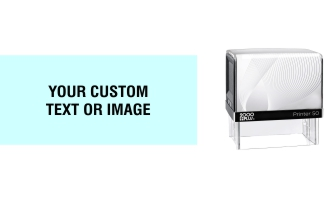 Customize your 2000 Plus Printer 50 self-inking stamp exactly the way you want it with your custom artwork or text. No sales tax ever.