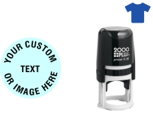 """Order Now! 2000 Plus R30 1-1/4"""" Round Fabric Stamp. Add lines of text, upload artwork, or both. Free Shipping. No Sales Tax - Ever!"""