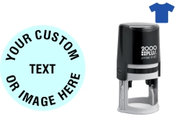 """Order Now! 2000 Plus R45 1-3/4"""" Round Fabric Stamp. Add lines of text, upload artwork, or both. Free Shipping. No Sales Tax - Ever!"""