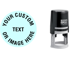 Order Now! 2000 Plus Printer R45 Round Self-Inking Stamp. 1-1/4 inch diameter impression. Free Shipping! No Sales Tax - Ever!