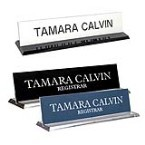 2 x 10 desk signs with acrylic base made daily online! Free same day shipping. No sales tax - ever.