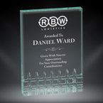 "Order Now! 5"" Rectangle shaped jade acrylic freestanding award. Custom laser engraved with your submitted text or artwork.