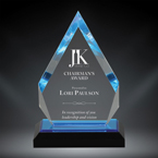 "Order Now! 6 7/8"" Arrow shaped spectra acrylic award with blue accents. Custom laser engraved with your submitted text or artwork. Free Shipping! No Sales Tax - Ever!"