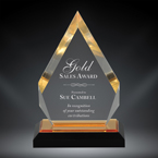 "Order Now! 6 7/8"" Arrow shaped spectra acrylic award with gold accents. Custom laser engraved with your submitted text or artwork. Free Shipping! No Sales Tax - Ever!"