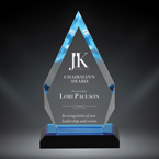 "Order Now! 7 7/8"" Arrow shaped spectra acrylic award with gold accents. Custom laser engraved with your submitted text or artwork. Free Shipping! No Sales Tax Ever!"