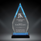 "Order Now! 8 7/8"" Arrow shaped spectra acrylic award with blue accents. Custom laser engraved with your submitted text or artwork. Free Shipping! No Sales Tax Ever!"