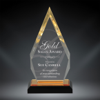 "Order Now! 8 7/8"" Arrow shaped spectra acrylic award with gold accents. Custom laser engraved with your submitted text or artwork. Free Shipping! No Sales Tax Ever!"