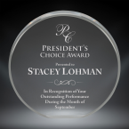 """Order Now! 4"""" Circle shaped clear acrylic freestanding award. Custom laser engraved with your submitted text or artwork. Free Shipping! No Sales Tax - Ever!"""