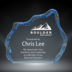 """Order Now! 4"""" Iceberg shaped clear acrylic freestanding award with blue accents. Custom laser engraved with your submitted text or artwork. Free Shipping! No Sales Tax - Ever!"""