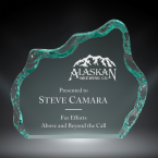 "Order Now! 5"" Iceberg shaped jade acrylic freestanding award. Custom engraved with your submitted text or artwork.