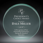 """Order Now! 4"""" Circle shaped jade acrylic freestanding award. Custom laser engraved with your submitted text or artwork. Free Shipping! No Sales Tax - Ever!"""