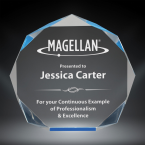 """Order Now! 5 1/4"""" Octagon shaped prism acrylic freestanding award with blue accents. Custom laser engraved with your submitted text or artwork. Free Shipping! No Sales Tax - Ever!"""