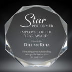 """Order Now! 6"""" Octagon shaped clear acrylic freestanding award. Custom laser engraved with your submitted text or artwork. Free Shipping! No Sales Tax - Ever!"""