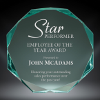"""Order Now! 6"""" Octagon shaped jade acrylic freestanding award. Custom laser engraved with your submitted text or artwork. Free Shipping! No Sales Tax - Ever!"""