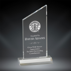 "Order Now! 6 3/4"" Clear rectangle shaped acrylic award with angled peak on top. Custom laser engraved with your submitted text or artwork. Free Shipping! No Sales Tax - Ever!"