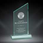 "Order Now! 6 3/4"" Jade rectangle shaped acrylic award with angled peak on top. Custom laser engraved with your submitted text or artwork. Free Shipping! No Sales Tax - Ever!"
