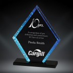 "Order Now! 6 1/2"" Pentagon shaped black acrylic award with blue accents. Custom laser engraved with your submitted text or artwork. Free Shipping! No Sales Tax - Ever!"