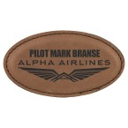 Leather oval name tags made daily online. Free same day shipping. No sales tax - ever.