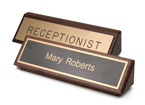 2 x 8 desk signs with solid wood base made daily online! Free same day shipping. No sales tax - ever.