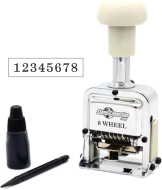 8 wheel automatic numbering machines shipped daily online. Free same day shipping. Excellent customer service. No sales tax - ever.