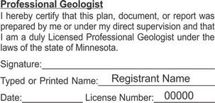 Minnesota Licensed Professional Geologist Seals