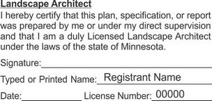 Minnesota Licensed Landscape Architect Seals