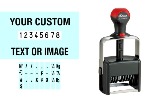 Order Now! Shiny 61608/PL Heavy Duty  Number Stamp with Text. Add customized text or artwork around the 8 adjustable number bands. Free Shipping. No Sales Tax - Ever!
