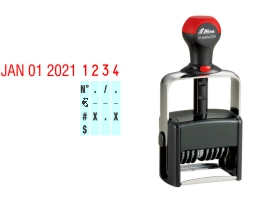 Order Now! Shiny 6404 Date & Number Stamp. Comes with date and 4 adjustable number bands with 0-9 and other symbols. Free Shipping. No Sales Tax - Ever!