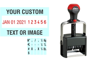 Order Now! Shiny 6406/DN Date & Number Stamp with Text. Add customized text or artwork around the adjustable date & number bands. Free Shipping. No Sales Tax - Ever!