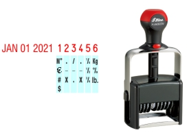 Order Now! Shiny 6406 Date & Number Stamp. Comes with date and 6 adjustable number bands with 0-9 and other symbols. Free Shipping. No Sales Tax - Ever!