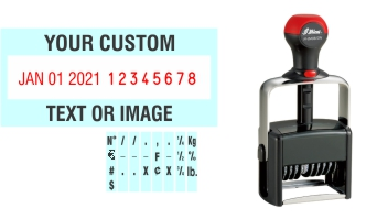 Order Now! Shiny 6408/DN Date & Number Stamp with Text. Add customized text or artwork around the adjustable date & number bands. Free Shipping. No Sales Tax - Ever!