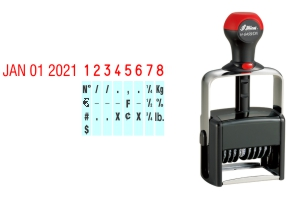 Order Now! Shiny 6408 Date & Number Stamp. Comes with date and 8 adjustable number bands with 0-9 and other symbols. Free Shipping. No Sales Tax - Ever!