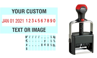 Order Now! Shiny 6410/DN Date & Number Stamp with Text. Add customized text or artwork around the adjustable date & number bands. Free Shipping. No Sales Tax - Ever!