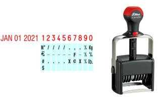 Order Now! Shiny 6410 Date & Number Stamp. Comes with date and 10 adjustable number bands with 0-9 and other symbols. Free Shipping. No Sales Tax - Ever!