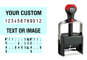 Order Now! Shiny 6412/PL Number Stamp with Text. Add customized text or artwork around the 12 adjustable number bands. Free Shipping. No Sales Tax - Ever!